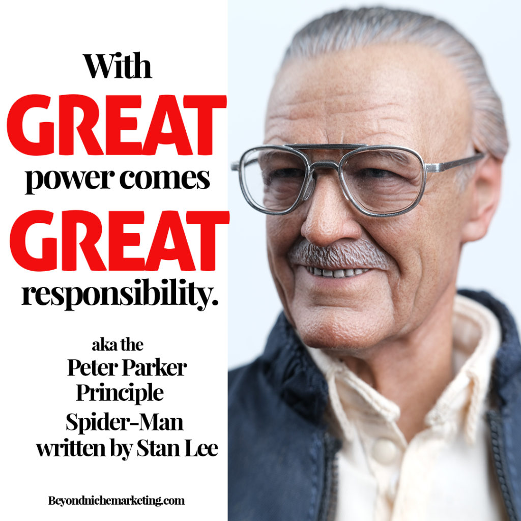 With great power comes great responsibility by Stan Lee